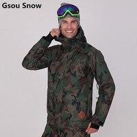 Gsou Snow Winter Insulated Ski Jacket Men Snowboard Jacket Army Green Camouflage Ski Suits for Men Veste Ski Homme ski jas heren
