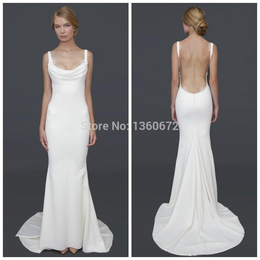 Popular sleek wedding dresses buy cheap sleek wedding for Backless sheath wedding dresses