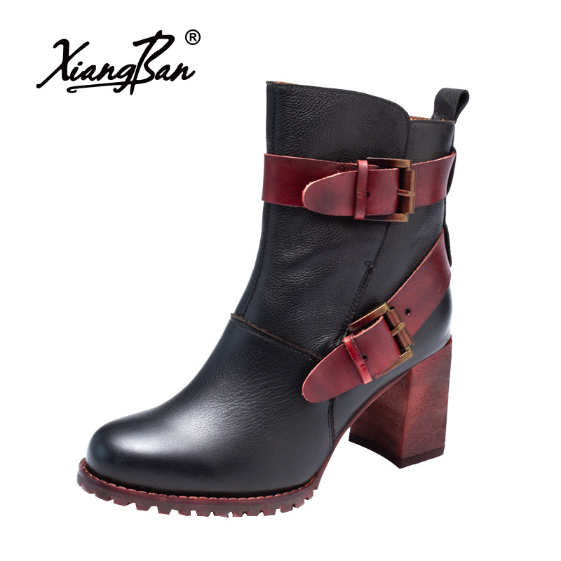 Thick High Heel Women Martin Boots 2018 Autumn Winter Female Shoes Round Head Genuine Leather Ankle Boots Retro women martin boots 2017 autumn winter punk style shoes female genuine leather rivet retro black buckle motorcycle ankle booties