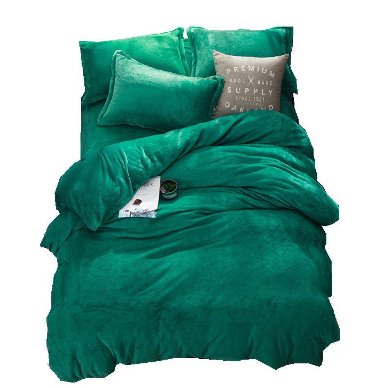 Green Winter Fleece Bedding Set AB Side Duvet Cover Flannel Fleece Flat Sheet 3/4pcs Solid Home Bed Set Caroset Bed Linens Warm