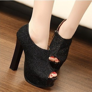 Woman Vintage Stiletto Platform Pump Slim Buckle High Heel Shoes Fashion Free shipping
