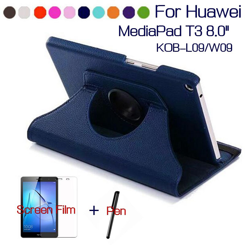 Rotating PU Leather Case for Huawei MediaPad T3 8.0 Honor Play Pad 2 KOB-L09 KOB-W09 Tablet Funda Cover+Free Screen Film+Pen