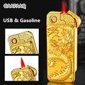 USB электрическая и газовая зажигалка двойного назначения перезаряжаемая Зажигалка 1300C ветрозащитная сигарета турбо Зажигалка тиснение зол...