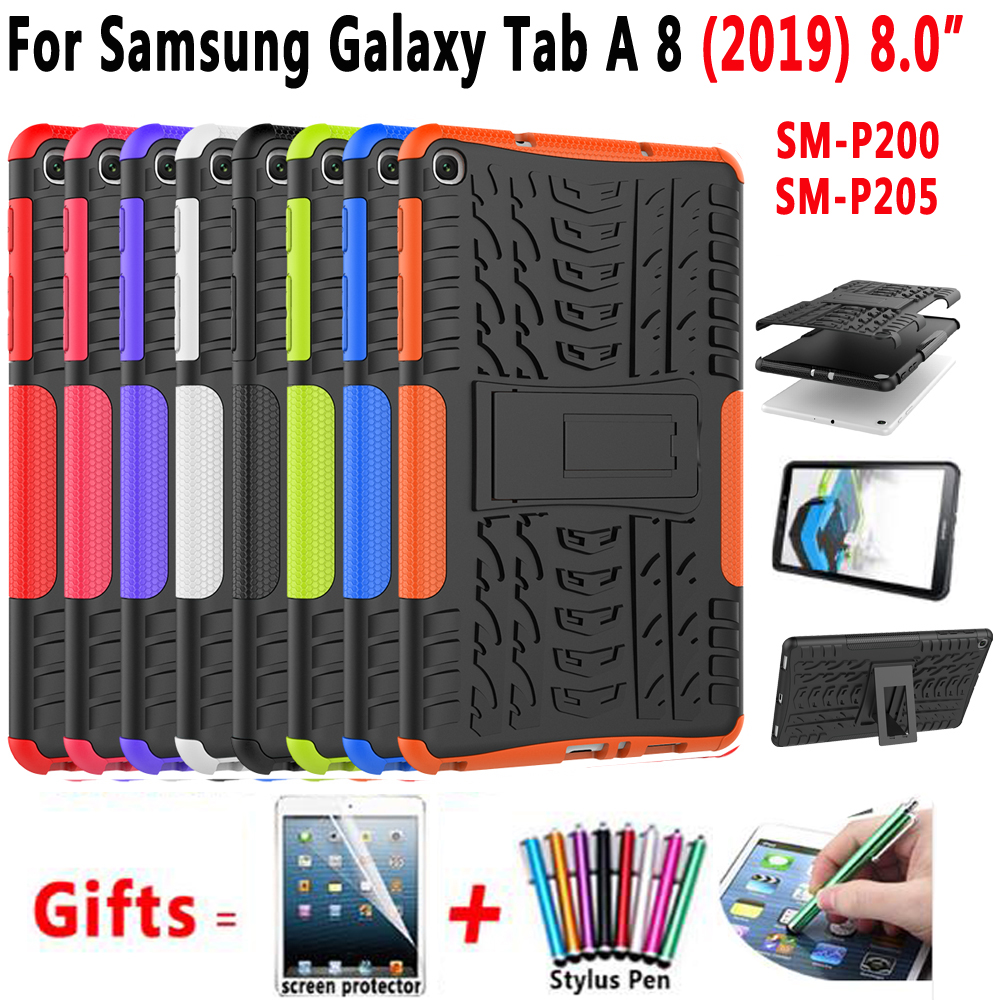 Case for <font><b>Samsung</b></font> Galaxy Tab A 8 2019 with S Pen Plus 8.0 SM-P200 SM-<font><b>P205</b></font> P200 Cover Funda Silicone Shockproof Shell +Film+Pen image