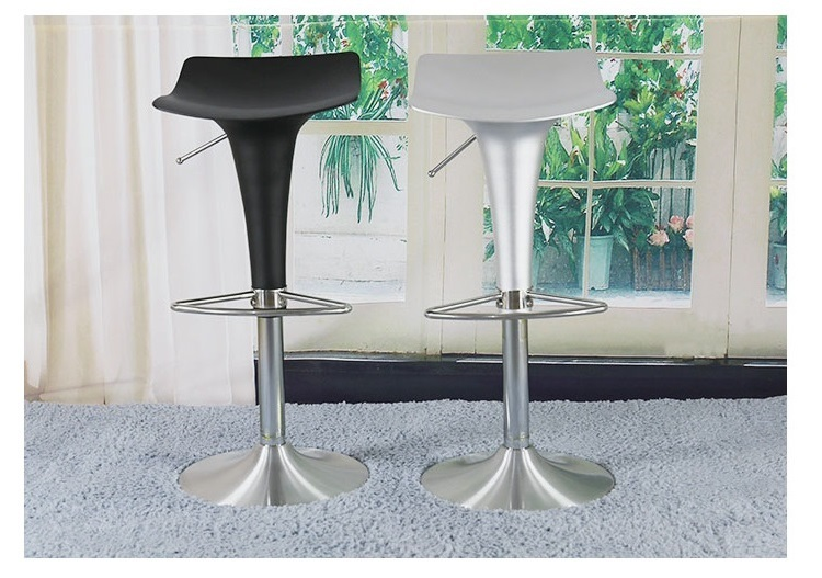 upscale bar stool Cafe aluminum seating chair retail wholesale silver black color free shippingChina