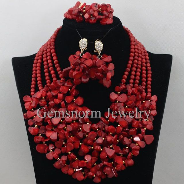 Luxury 5 Layers Nigerian Coral Beads Necklace Sets Full Beads African Red Coral Beads Jewelry Set Free Shipping CNR364
