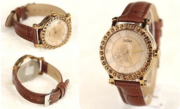 Free Shipping famous korea brand 2013 new fashion vintage style woman casual quartz watch with crystal rhinestone