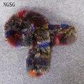 Scarves Fox Fur Women Winter Scarf Shawl Fashion Modern Style 98 cm Length Real Fur Multicolor Female Decoration EK1302-4