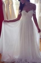 Ivory Beach Wedding Dresses Simple A-Line Off-shoulder Long Appliques