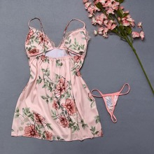 Floral Sleepwear Sets For Women Pajamas Lingerie Temptation Nightgowns With Thongs Sexy Lace Underwear Panties On