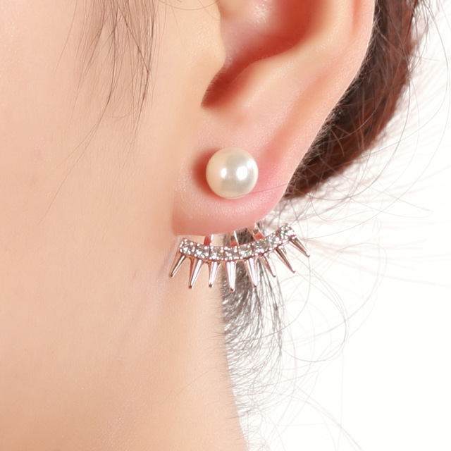 Crystal Gold Color Silver Ear Jacket Fashion Raw Simulated Pearl Stud Earrings For Women Jewelry Gift Party