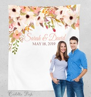 Personalized Wedding Photography Backdrop, Floral Wedding Photo Booth Backdrop, Wedding Banner,with Name, date, and Monogram