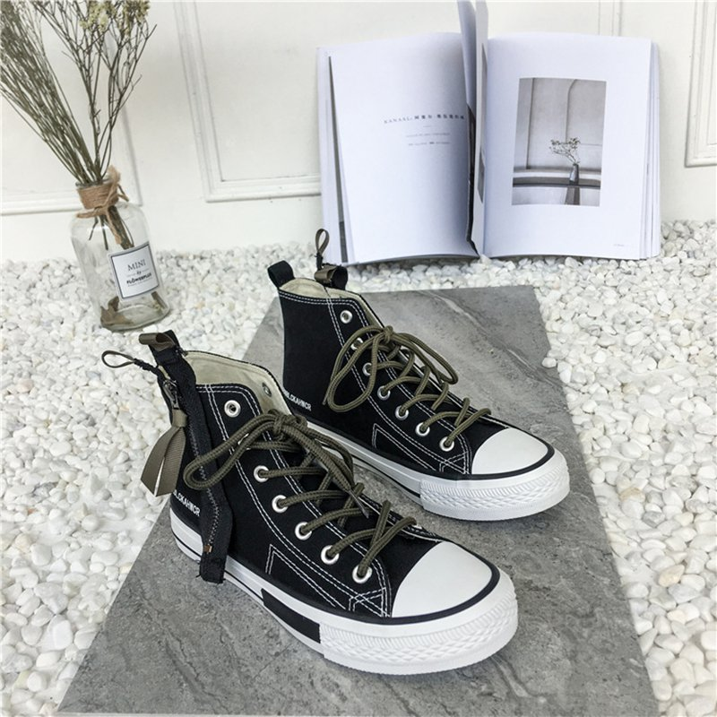 Coréenne Noir De Sauvage Toile dessus blanc Femmes 2018 Chaussures Noir Casual Haut Étudiants Zipper xCwXq768