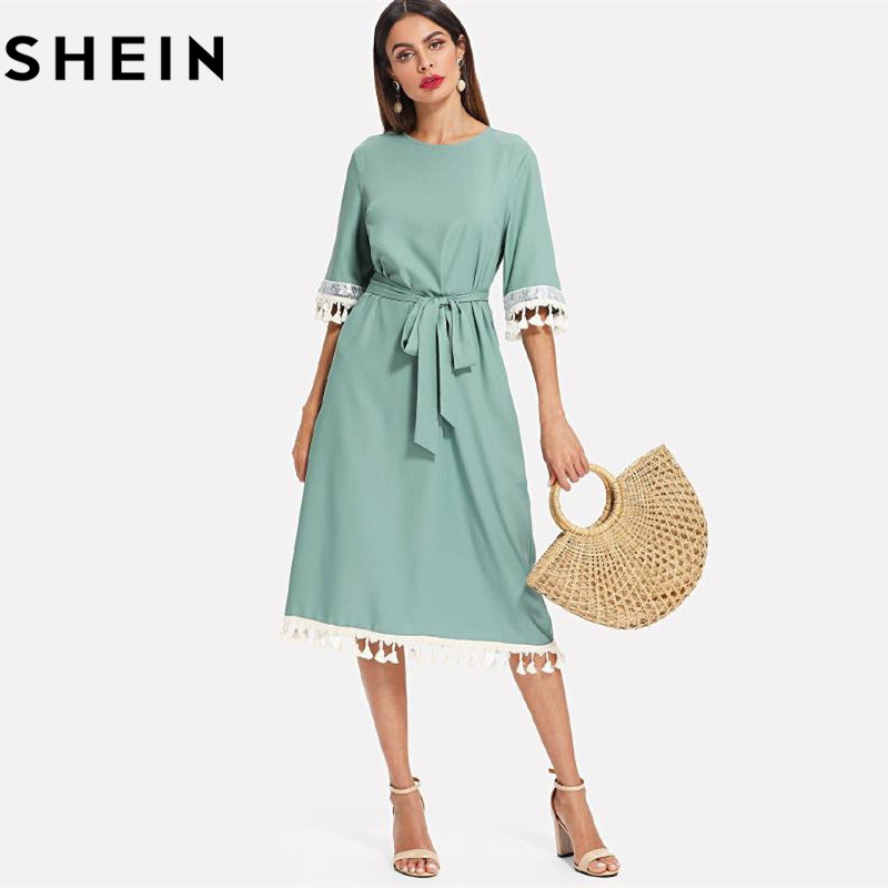 f5b1d308 SHEIN Sequin And Tassel Detail Belted Dress Women Round Neck Half Sleeve  Dress 2018 Summer Blue Casual Belted Dress-in Dresses from Women's Clothing  on ...