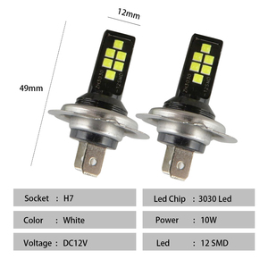 Image 4 - 2 pcs h7 led 자동차 안개 led 전구 3030 12 led canbus 램프 drl 12 v 흰색 노란색 빨간색 자동차 운전 실행 램프 자동 led h7 전구