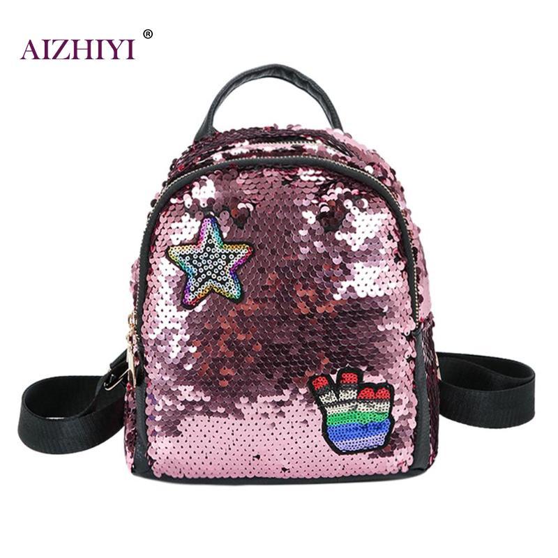 Women Shining Sequins Backpacks Teen Gir
