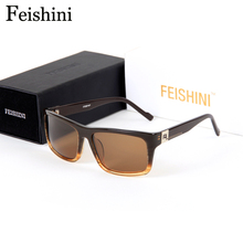 FEIDHINI Brand Designers Not Change Color Sunglasses Men COOL Fashion Acetate BOX Rectangle Glasses Women Polarized Polaroid