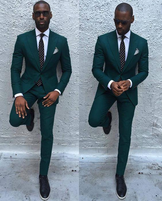 Newest Groomsmen Dark Green Groom Tuxedos Big Peak Lapel Men Suits ...