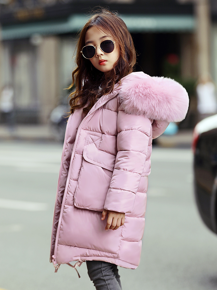 New Fur Hooded Long Down Jacket For Teenage Girls Warm Thick Children Coats Girls Winter Outerwear Girls Clothes Snowsuits 12 14 jeans con blazer mujer