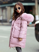 New Fur Hooded Long Down Jacket For Teenage Girls Warm Thick Children Coats Girls Winter Outerwear Girls Clothes Snowsuits 12 14