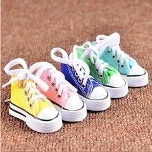 24994b7ca4d77c wholesale mini 3D sneaker keychain simulation canvas shoes key chains key  ring Tennis Shoe Sports keyring