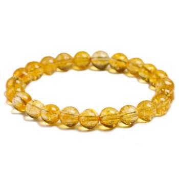 Bracelet en pierre Citrine jaune naturel perles 6mm 8mm 10mm bijoux en Quartz fait la main