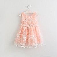 Hurave赤ちゃん女の子ネット糸刺繍入りドレス服子供ノースリーブドレス子供ベストラウンド襟ドレス用2-6
