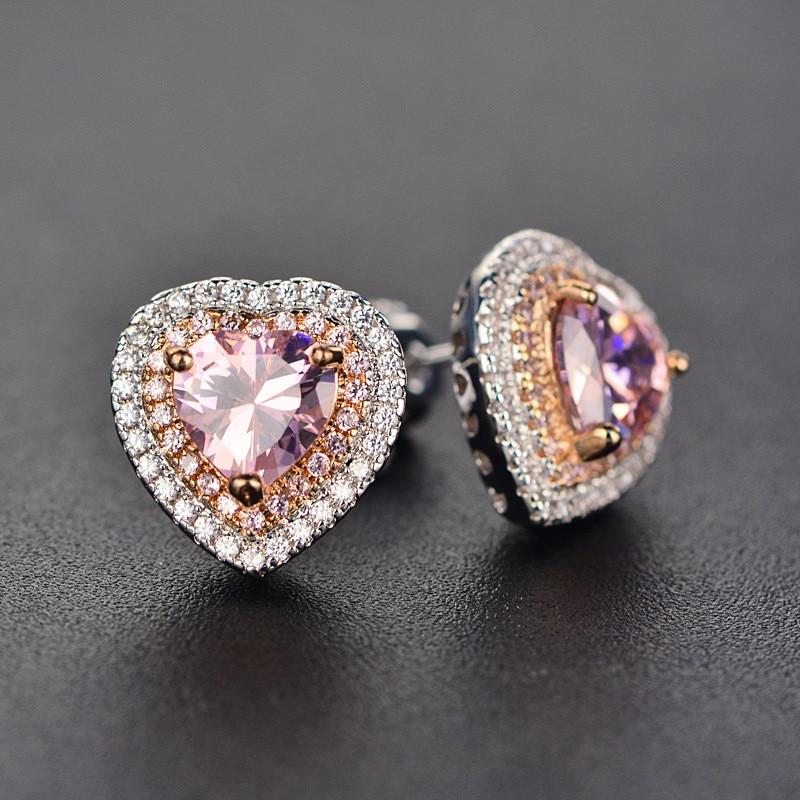 Stud Earrings For Women S925 Sterling Silver Fine Jewelry Pink Love Heart Brincos Bridal Wedding Engagement Romantic Bijouterie