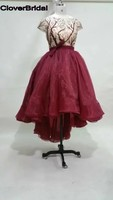 Organza Short Sleeves High Low Illuison Branches Patterns Dresses Gossip Girl Burgundy Red Celebrity Dress Blake