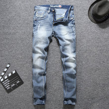 Italian Vintage Designer Fashion Men Jeans Light Blue Summer Slim Fit Ripped Streetwear Hip Hop Pants Classical