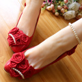 (3cm heel)Red wedding shoes bride pearl beaded straps bridesmaid shoes beautiful women's small heel party pumps shoe