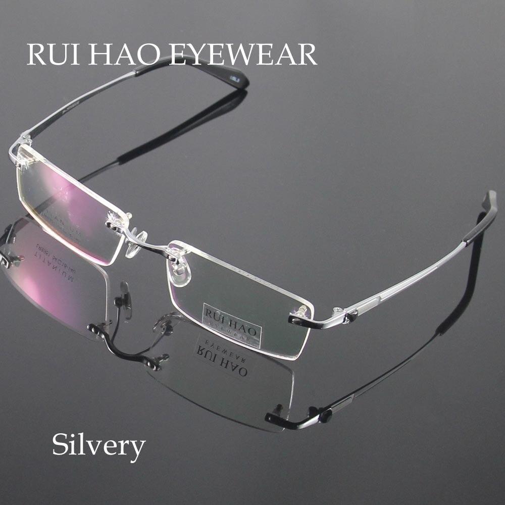 Unisex hombres gafas sin montura gafas de titanio marcos ópticos ...