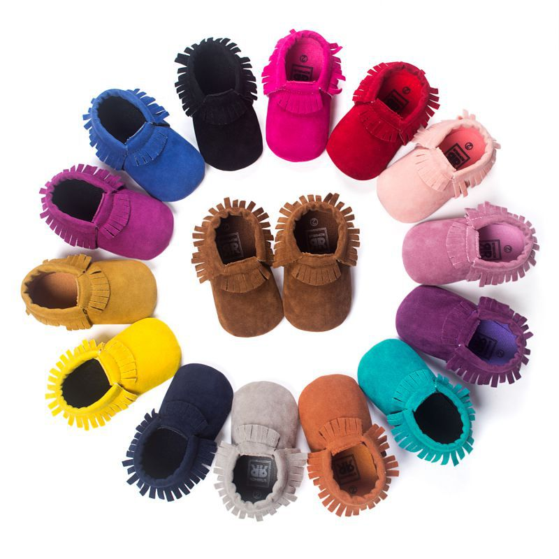 PU Suede Leather Newborn Baby Boy Girl Baby Moccasins Soft Moccs Shoes Bebe Fringe Soft Soled Non slip Footwear Crib Shoe in First Walkers from Mother Kids