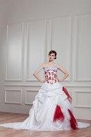 Бесплатная доставка 2016 новый дизайн горячей продажи зашнуровать свадебное платье красные аппликации высокого класса на заказ размер/цвет