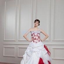 8af08fdf31c75 شحن مجاني 2016 تصميم جديد الساخن بيع الدانتيل يصل ثوب الزفاف الأحمر يزين  الراقية مخصص الحجم اللون واحد الكتف فستان الزفاف