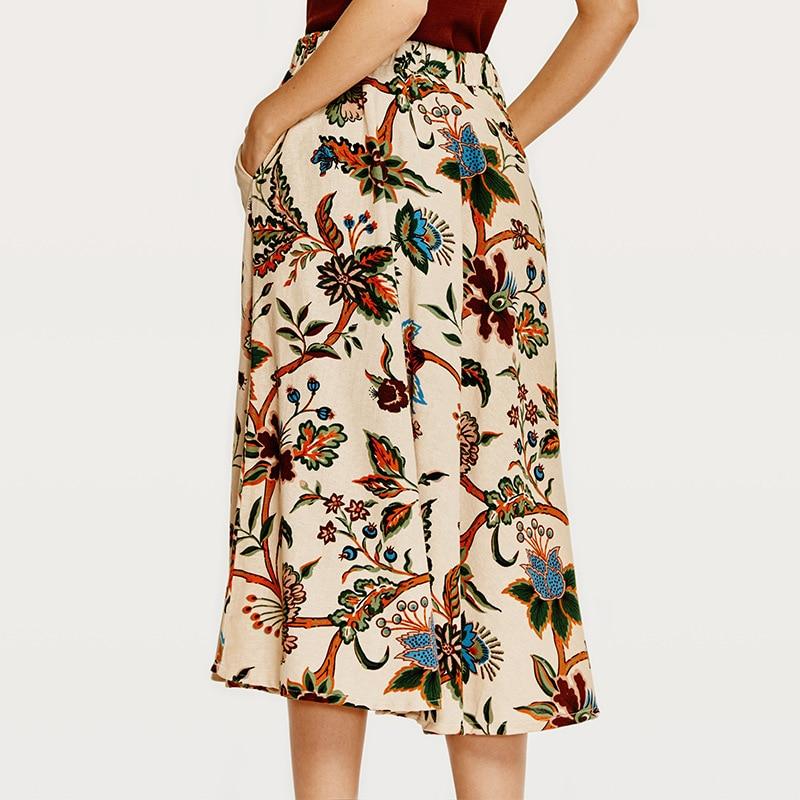 2018 Summer Fashion Vintage Womens Bohemia Skirts Cotton Linen Floral Printed Waist Elastic medium Skirt Beautiful lady skirt 1