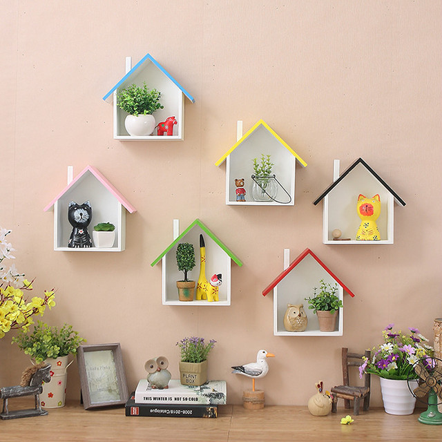 American Village Colorful Small House Kids Room Bedroom Wall Decorations Mount Shelves