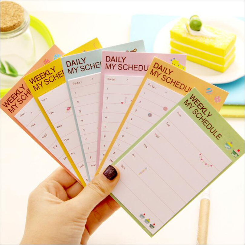 2pcs/lot New Creative Fresh Weekly & Daily Students Schedule Notepad/Sticky Note Memo/Message Post/Writing scratch pad GT220