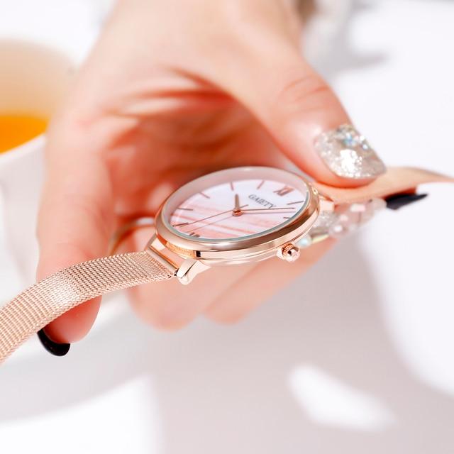 Gaiety Luxury 2 PCS Set Watch Women Rose Gold Water Drill Bracelet Watch Jewelry Ladies Female Hour Casual Quartz Wristwatches