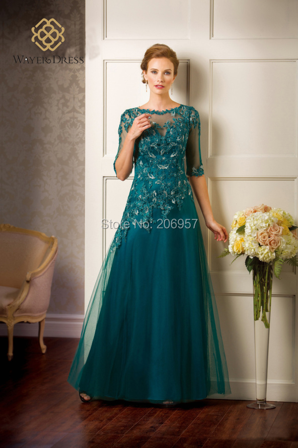 New A Line Teal Mother Of The Bride Dresses With Half