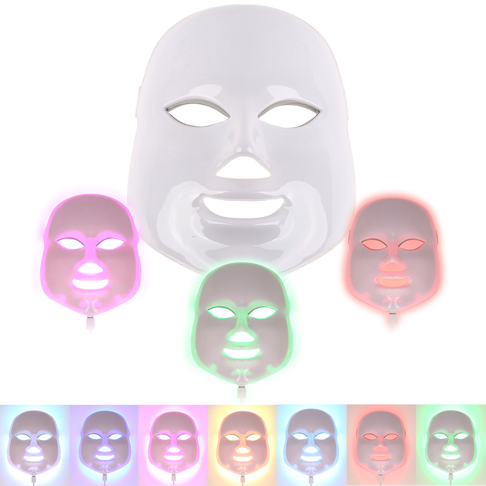 2017 Pro 7 Color Lights LED Photon Facial Mask Device Wrinkle Acne Removal Skin Rejuvenation Massage Anti-Aging Therapy EU Plug 7 colors light photon electric led facial mask skin pdt skin rejuvenation anti acne wrinkle removal therapy beauty salon