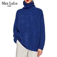 Max LuLu 2017 Spain Brand Designer Knitted Clothing Womens Long Pullovers Turtleneck Loose Woman Casual Sweater Christmas Jumper