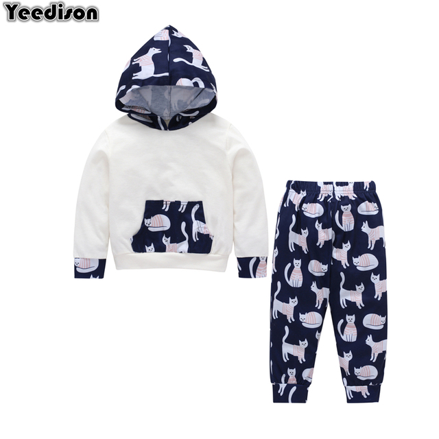 66b9cf5e05807 US $10.43 37% OFF|Spring Autumn Baby Boy Clothes Cat Children Clothing Set  2018 Fall Kids Outfit Sports Suit For Boys 2Pcs Hoodies Pants Tracksuit-in  ...