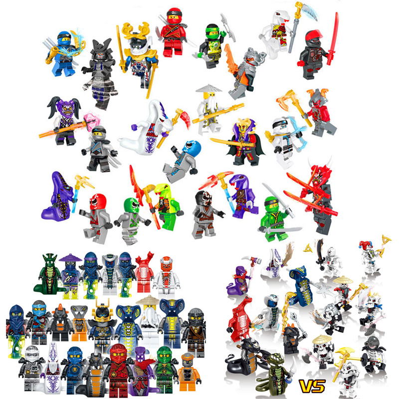 24pcs Compatible Legoinglys Ninjagoed Ghost Evil Ninja Pythor Chop'rai Mezmo Serpentine Army Figure Building Block Toy For Kids