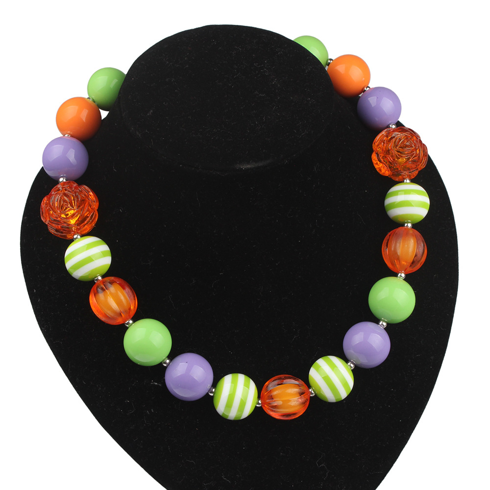 Factory Wholesale DIY Hand Made Kids Jewelry Girls Love Flower Chunky Necklace Bubblegum Toddler Safe Jewelry No Fading WXN46