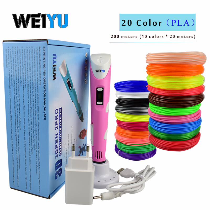 Original weiyu 3d pen 3d printing drawing pen DIY 3 d Printer pens with 10 Color 20colors 100/200 meter pla plastic for kid gift(China)