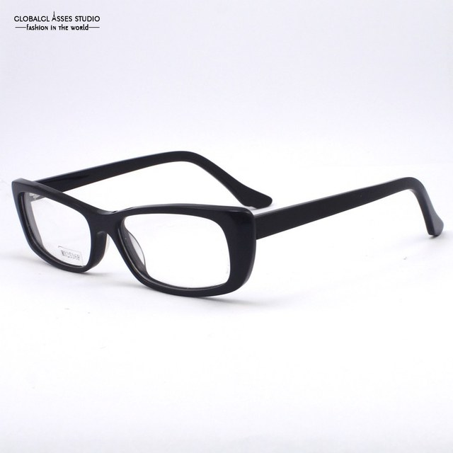 Gaya murni Komersial Hitam Persegi Bentuk Pria Wanita Kacamata Optik  Asetat Classicial Tunggal Warna 485f790468