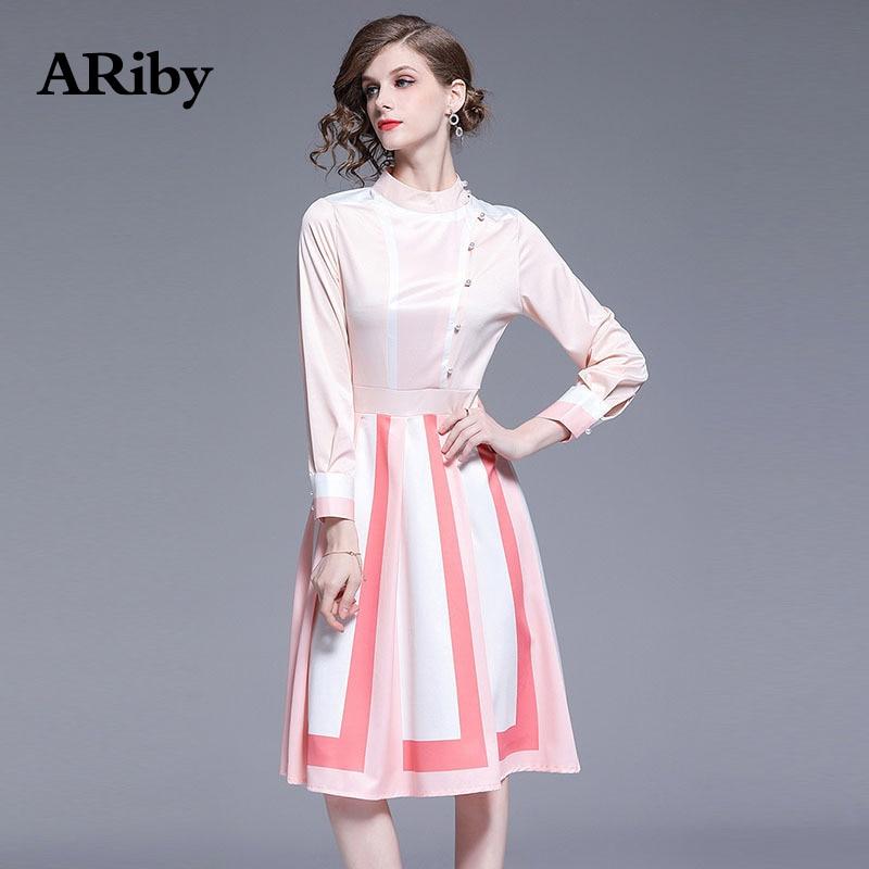 ARiby Women Sweet Dress Short Pink 2019 Spring Summer New Lady Temperament White Splicing Long Sleeve A-Line Dresses