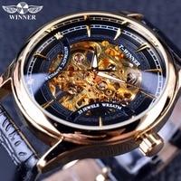 Winner 2016 Fashion Black Golden Star Luxury Design Clock Mens Watch Top Brand Luxury Mechanical Skeleton