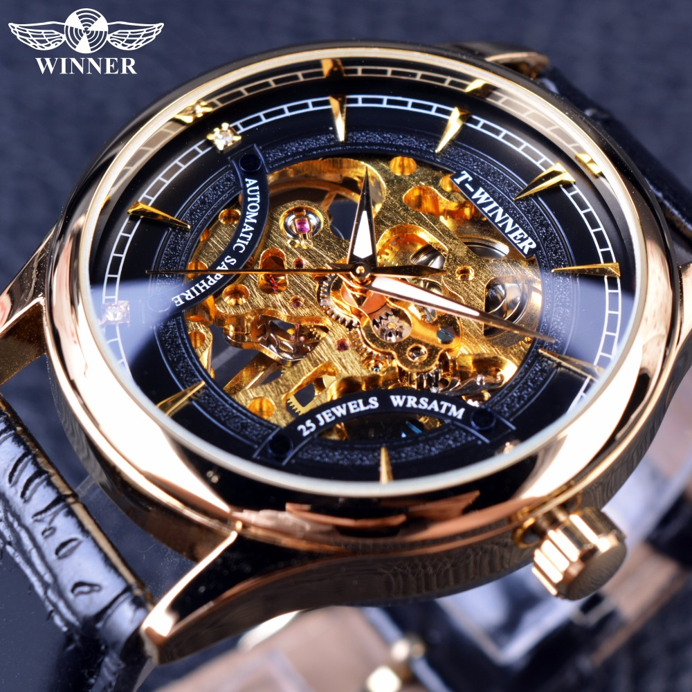 Winner 2016 Fashion Black Golden Star Luxury Design Clock Mens Watch Top Brand Luxury Mechanical Skeleton